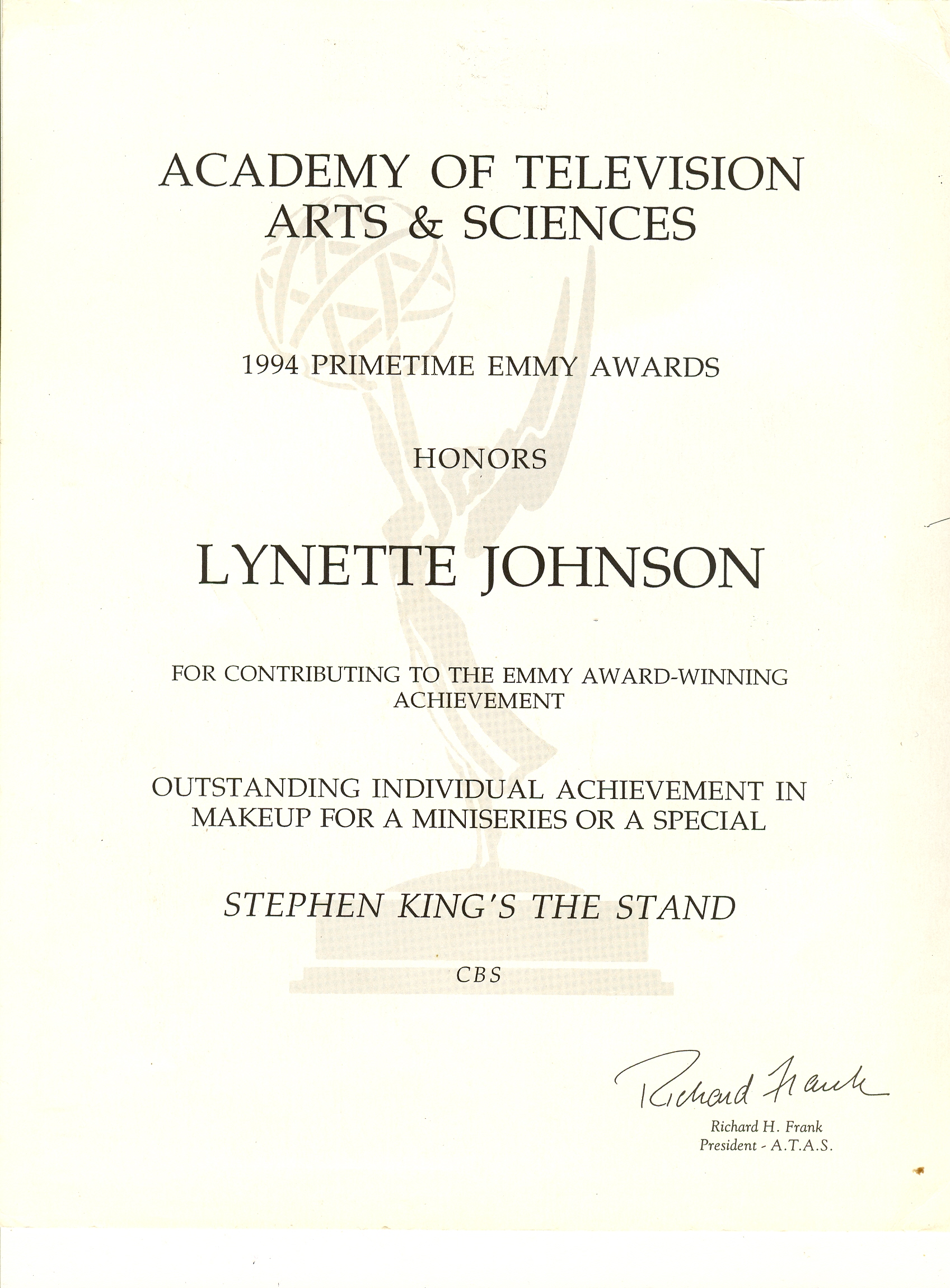 Stand Emmy certificate